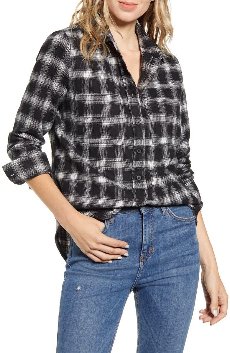 LIRA CLOTHING Ryder Plaid Top, Main, color, BLACK