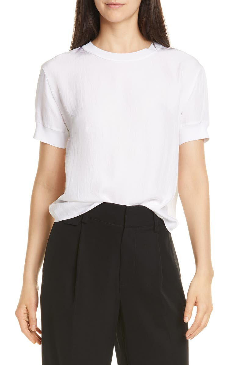 VINCE Rib Trim Top, Main, color, OPTIC WHITE