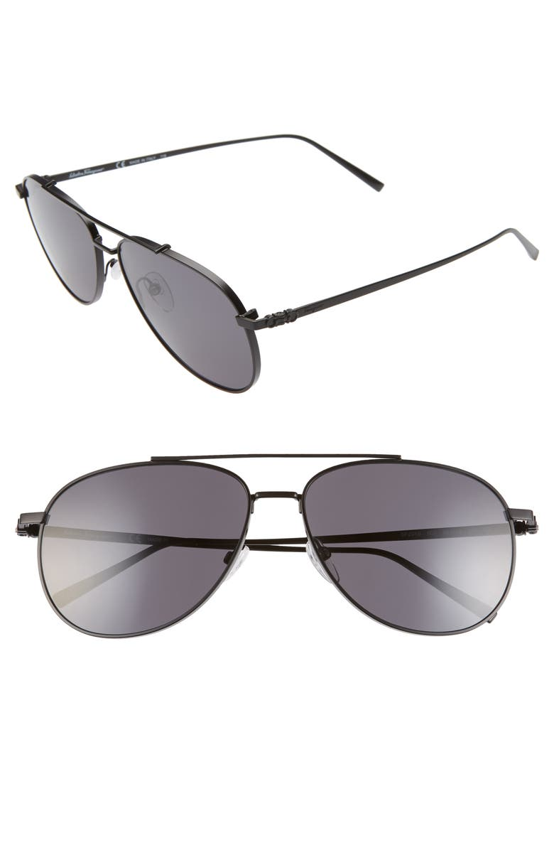 SALVATORE FERRAGAMO Capsule 60mm Aviator Sunglasses, Main, color, MATTE BLACK