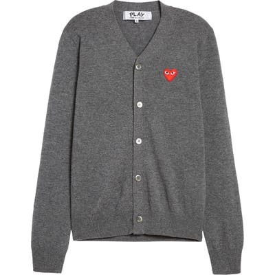 Comme Des Garcons Play Wool Cardigan With Heart Applique, Grey