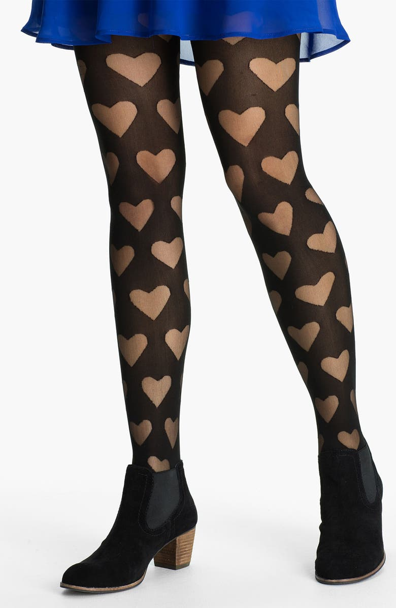 FRENCHI <sup>®</sup> Burnout Heart Tights, Main, color, 001