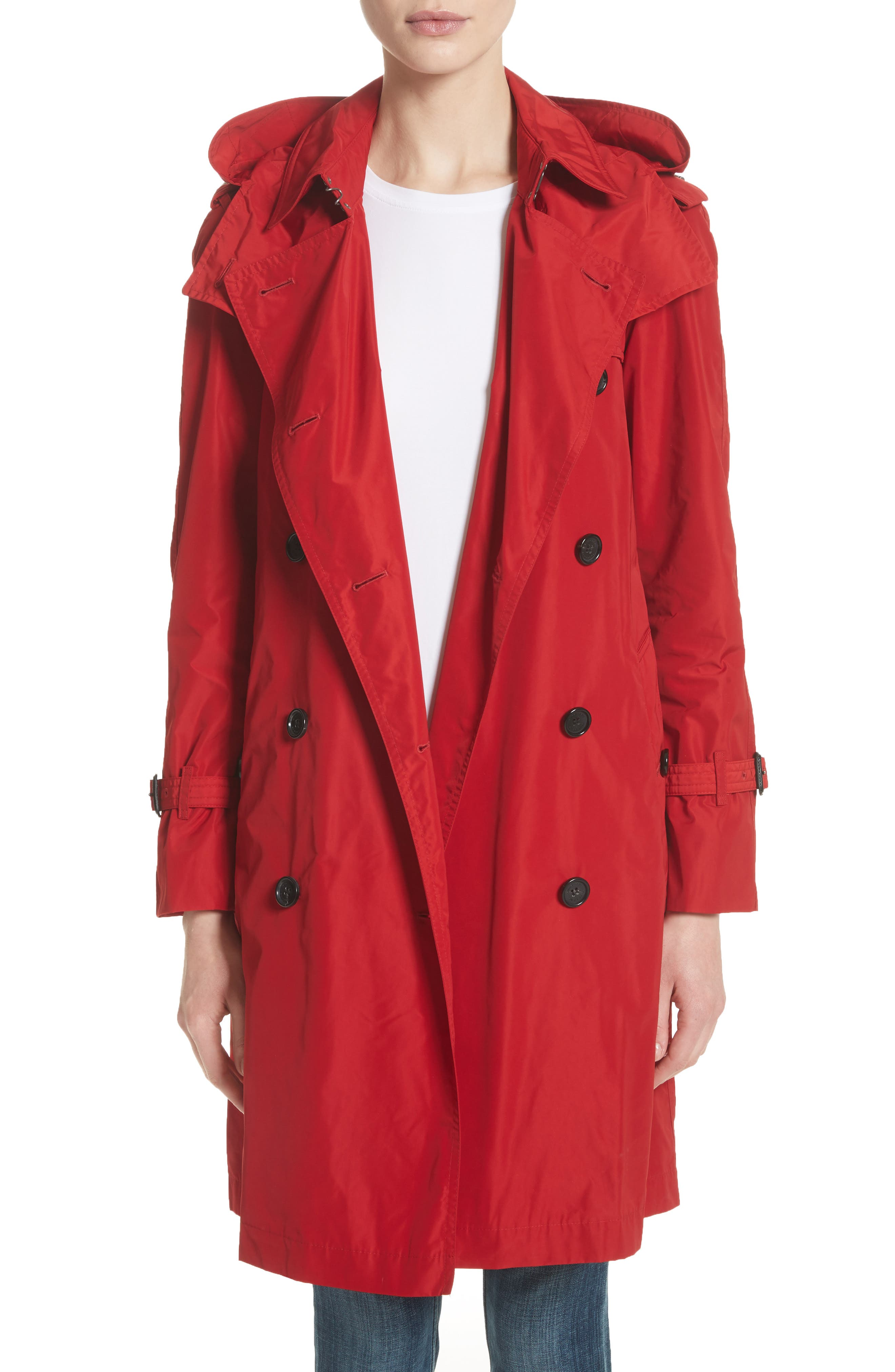 ,                             Amberford Taffeta Trench Coat with Detachable Hood,                             Main thumbnail 1, color,                             MILITARY RED