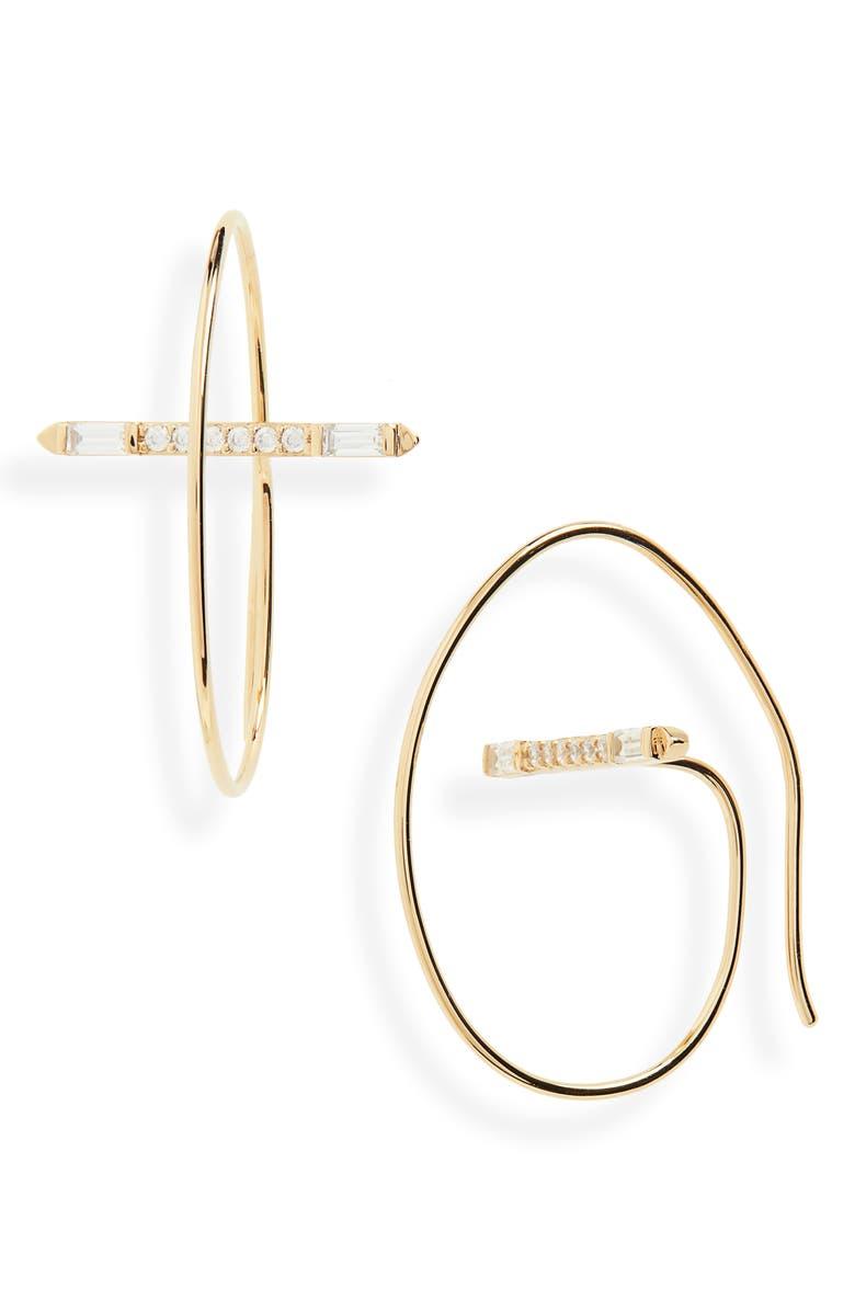 NADRI Mercer Threader Hoop Earrings, Main, color, 710