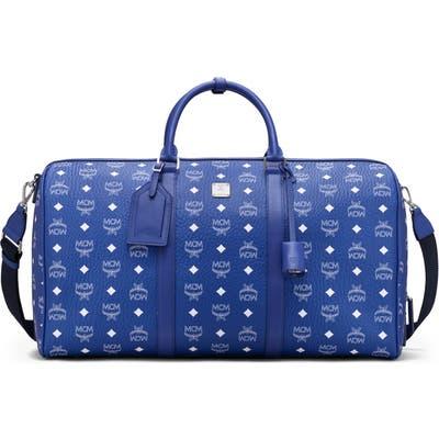 Mcm Large Traveler Visetos Weekend Duffle Bag - Blue