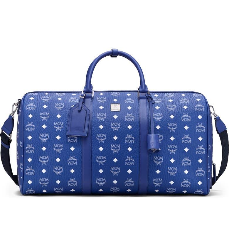 MCM Large Traveler Visetos Weekend Duffle Bag, Main, color, SURF THE WEB