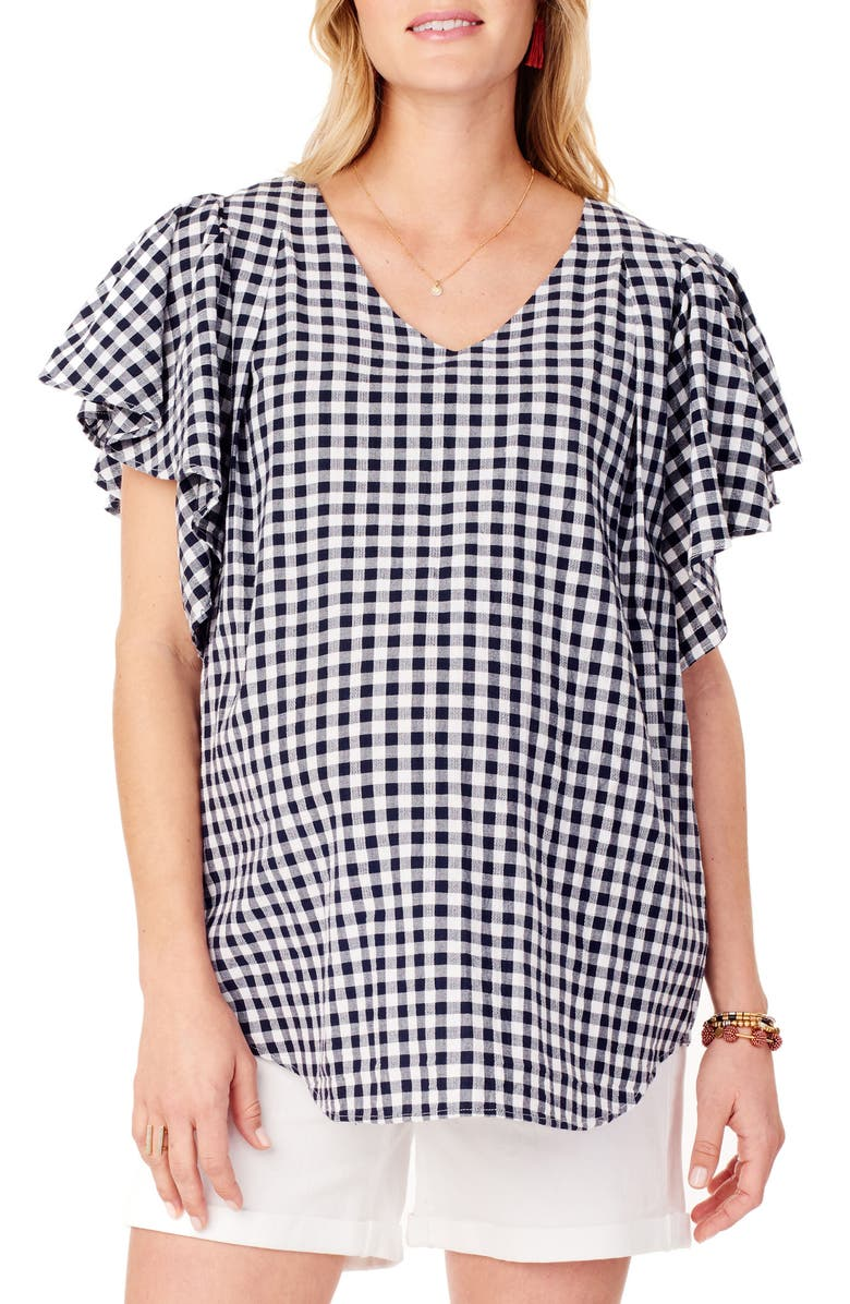 INGRID & ISABEL<SUP>®</SUP> Flutter Sleeve Maternity Top, Main, color, TRUE NAVY GINGHAM