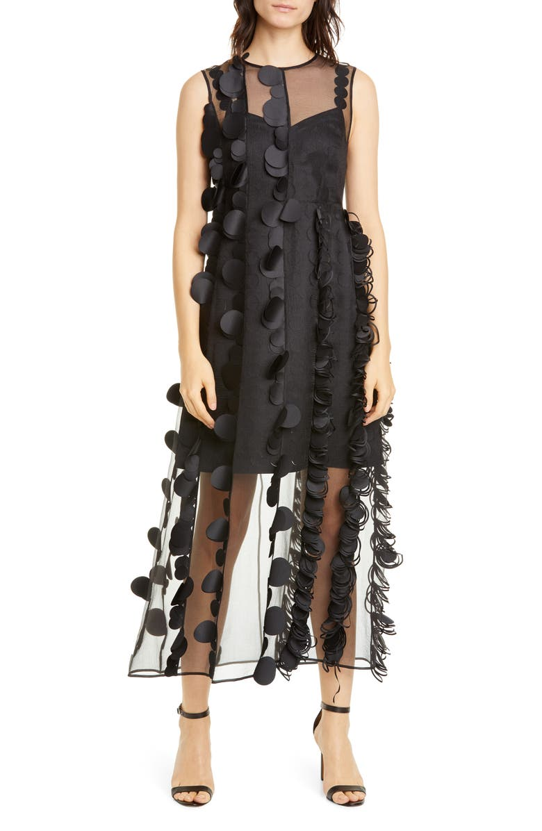 PASKAL Laser Cut Dot Organza Midi Dress, Main, color, BLACK