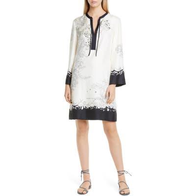 Etro Cheetah & Floral Print Long Sleeve Silk Shift Dress, 50 IT - Ivory