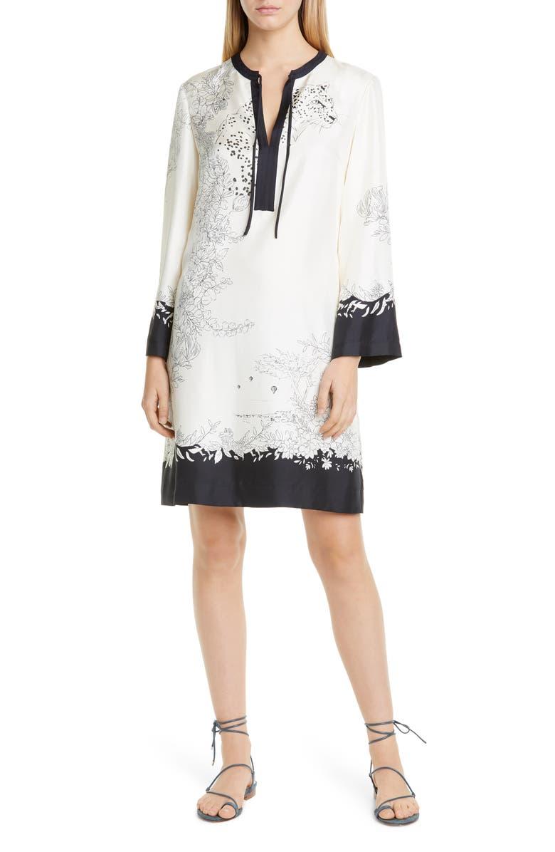 ETRO Cheetah & Floral Print Long Sleeve Silk Shift Dress, Main, color, BLACK