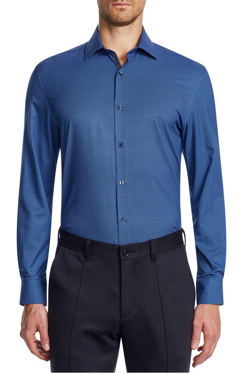 W.R.K Trim Fit Print Performance Dress Shirt, Main, color, NAVY