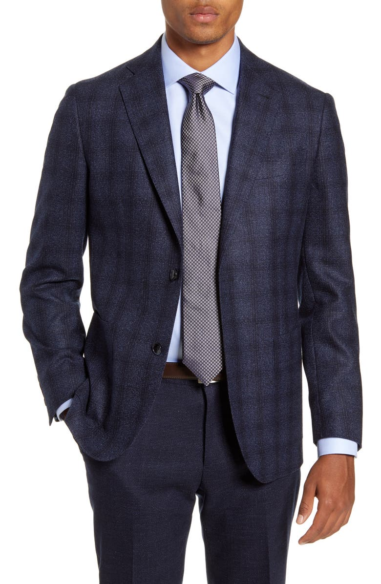 NORDSTROM SIGNATURE Trim Fit Plaid Wool Sport Coat, Main, color, NAVY BLAZER BLUE NEP