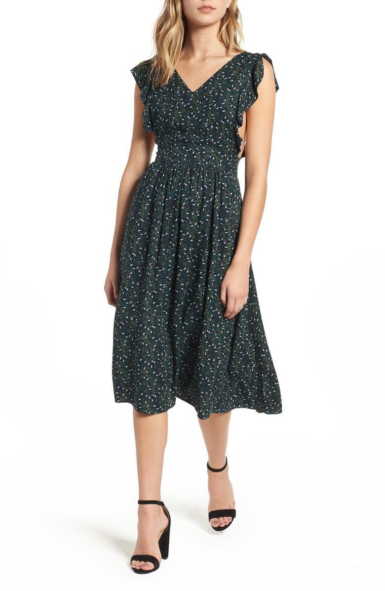 HINGE Pinafore Midi Dress, Main, color, 410