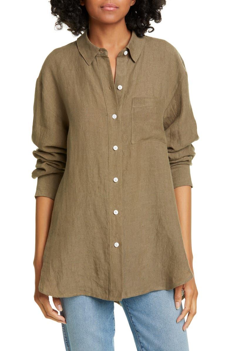 JENNI KAYNE Linen Boyfriend Shirt, Main, color, SAGE