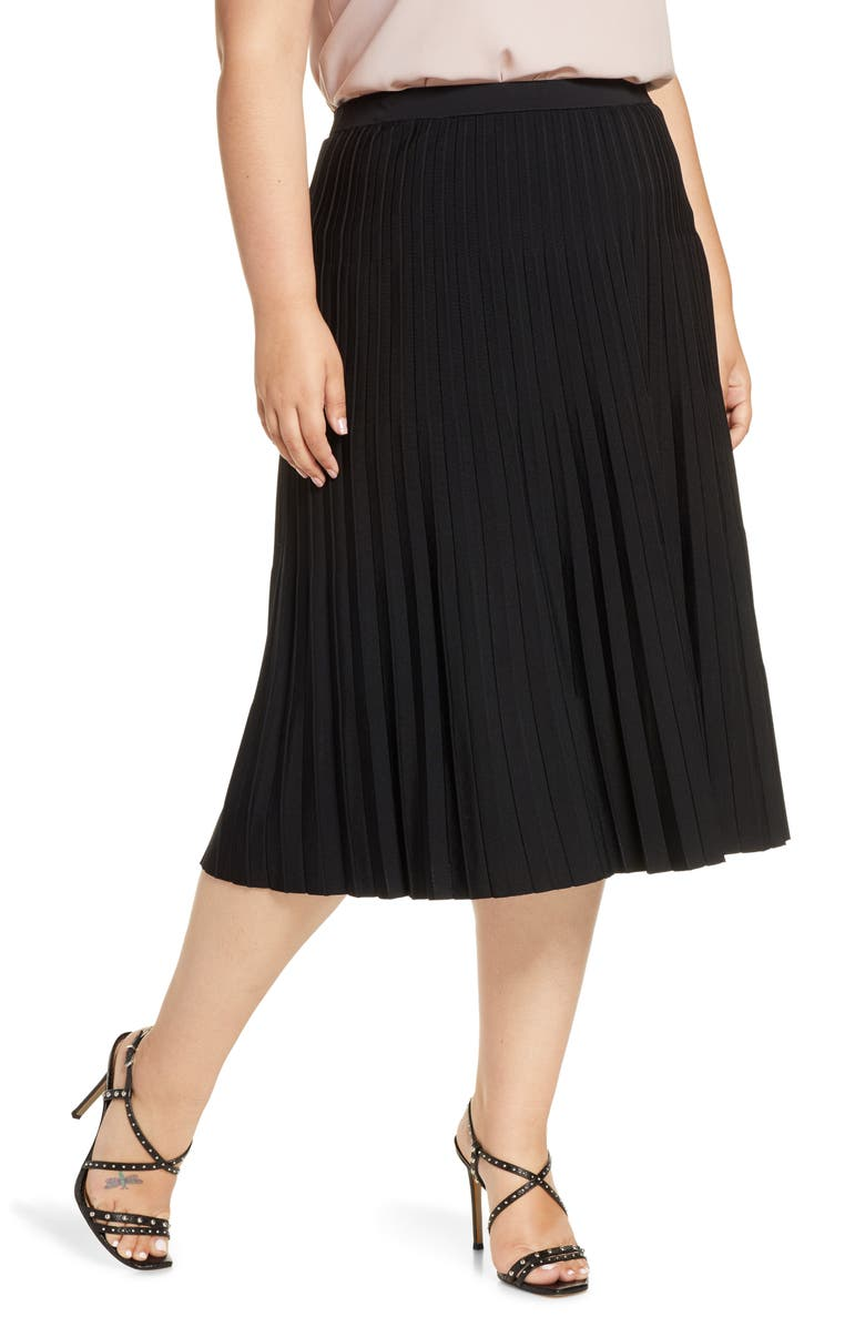 HALOGEN<SUP>®</SUP> Pleated Knit Skirt, Main, color, BLACK
