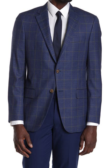 Image of Hickey Freeman Blue Plaid Two Button Notch Lapel Blazer