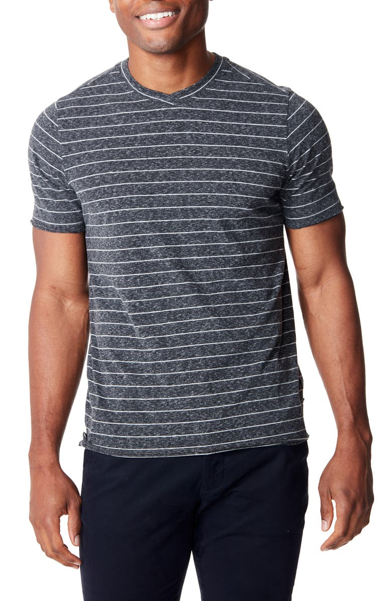 GOOD MAN BRAND Slim Fit Heather Stripe Jersey T-Shirt, Main, color, CHARCOAL HEATHER / SILVER