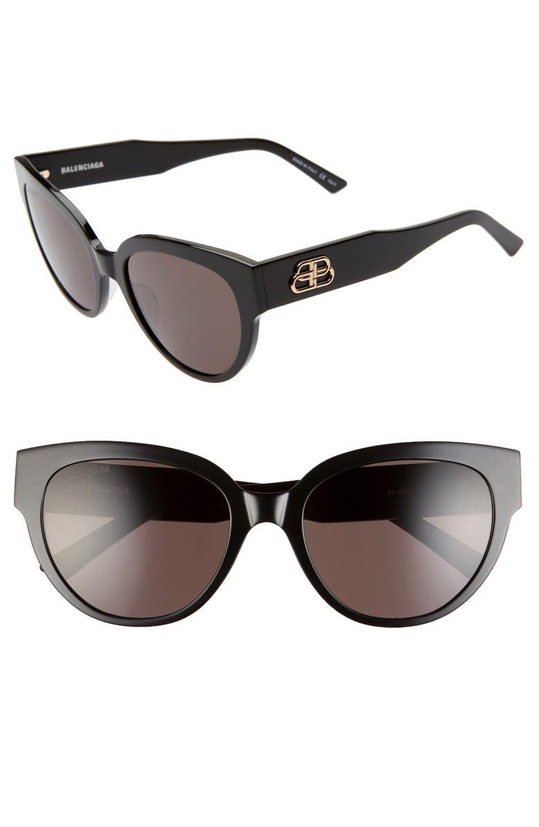 BALENCIAGA 55mm Cat Eye Sunglasses, Main, color, 001