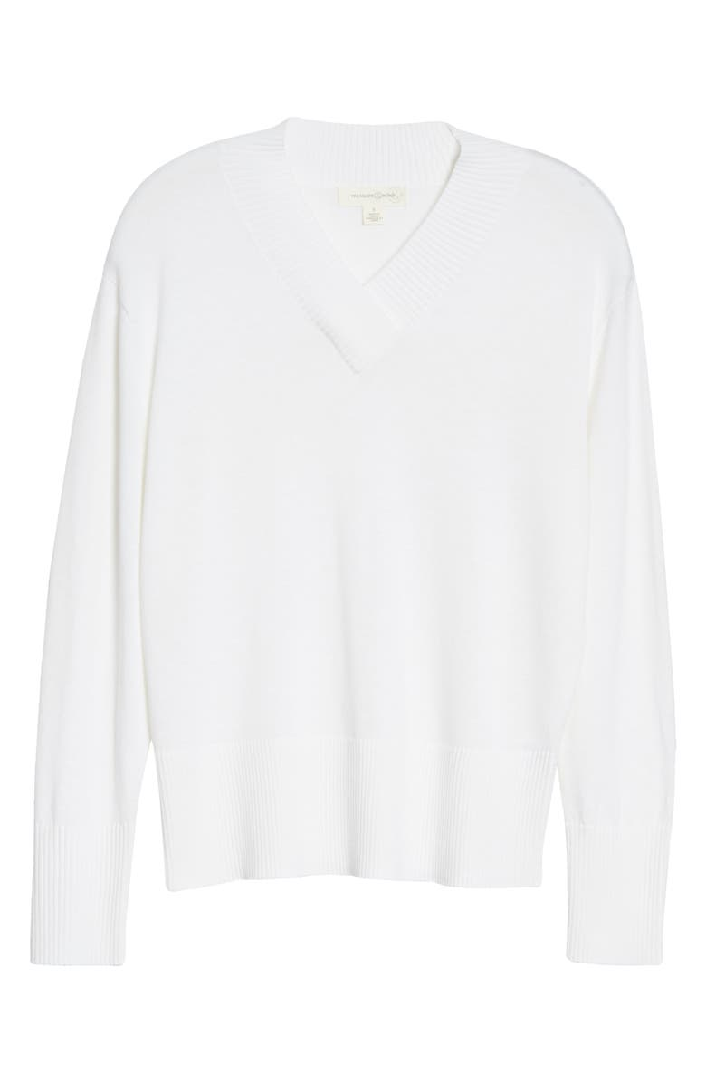 TREASURE & BOND V-Neck Sweater, Main, color, WHITE