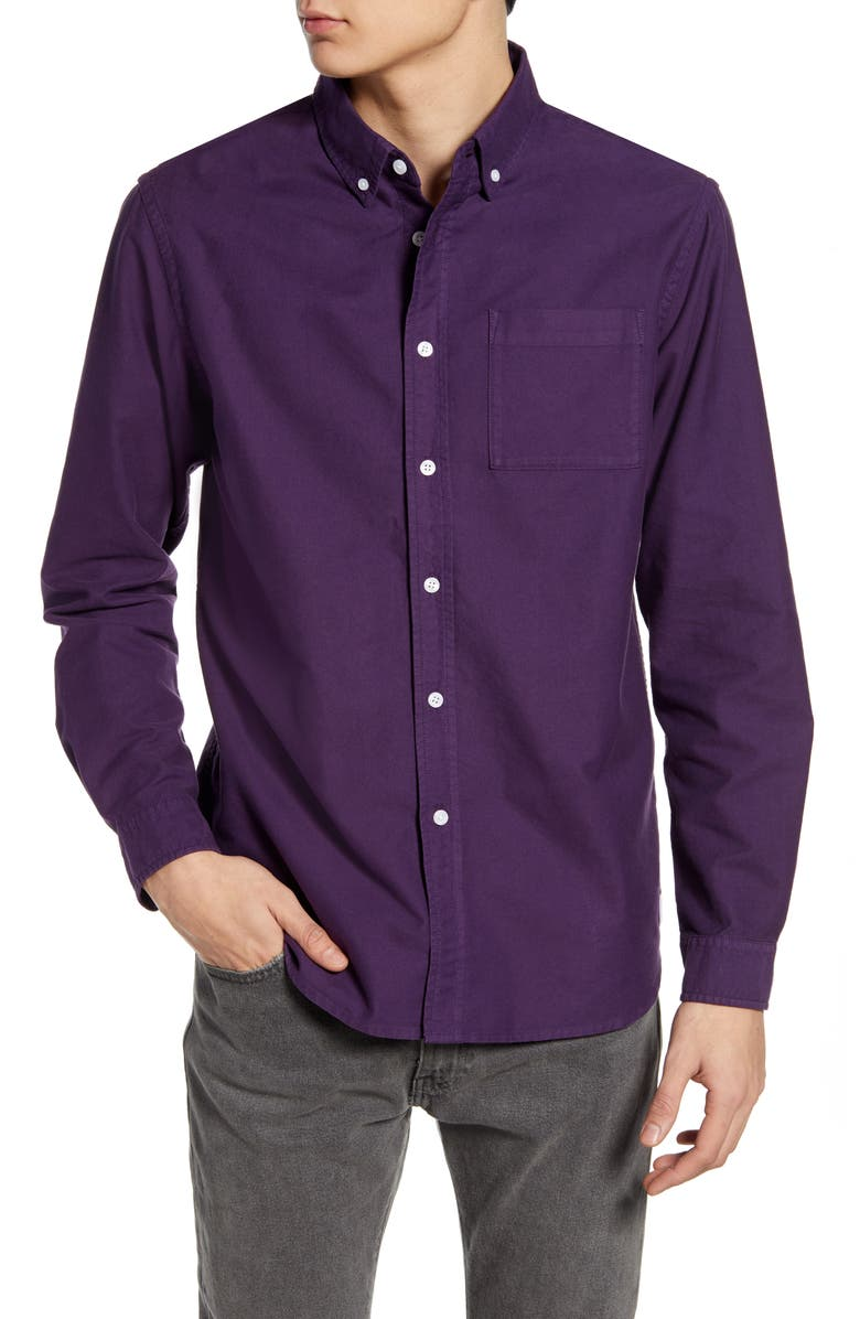 SATURDAYS NYC Crosby Slim Fit Button-Down Oxford Shirt, Main, color, DARK PLUM