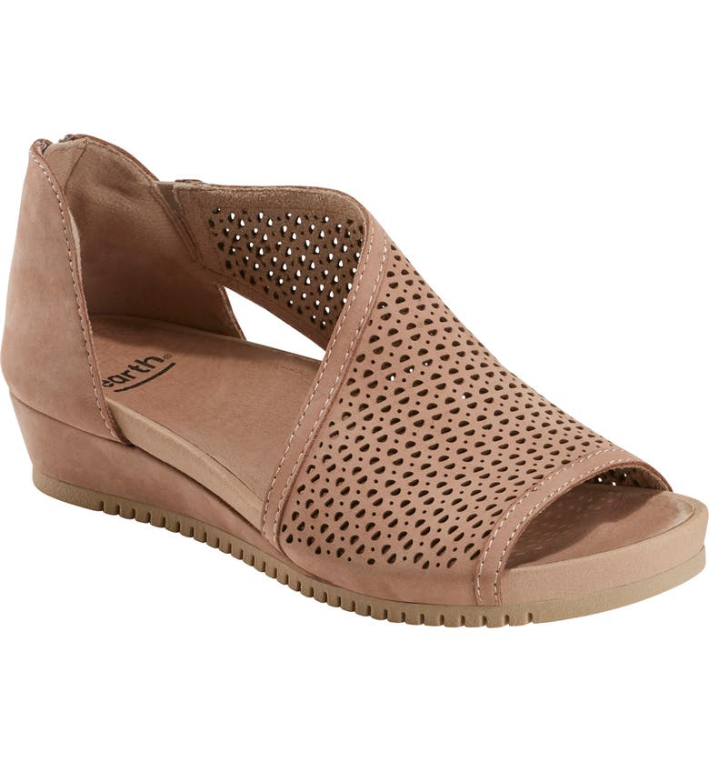 EARTH<SUP>®</SUP> Capricorn Wedge Sandal, Main, color, DARK BLUSH NUBUCK LEATHER