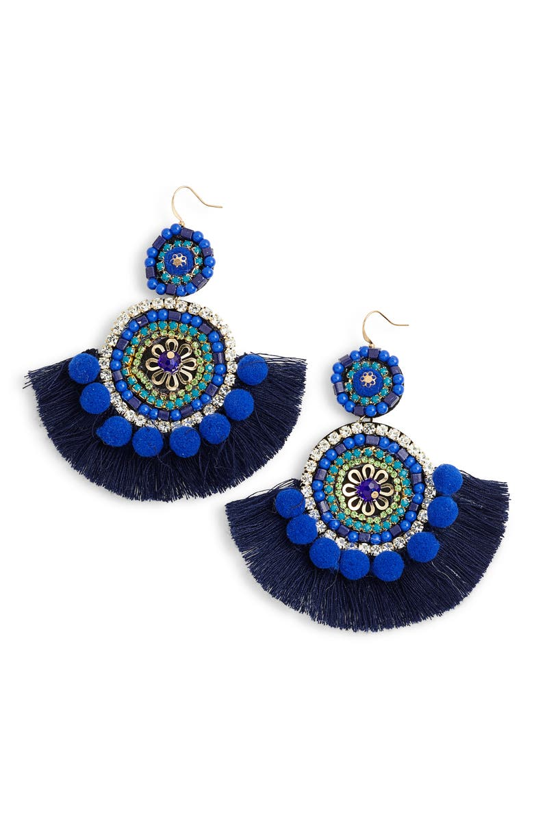 MAD JEWELS Bohemian Beaded Statement Earrings, Main, color, 400