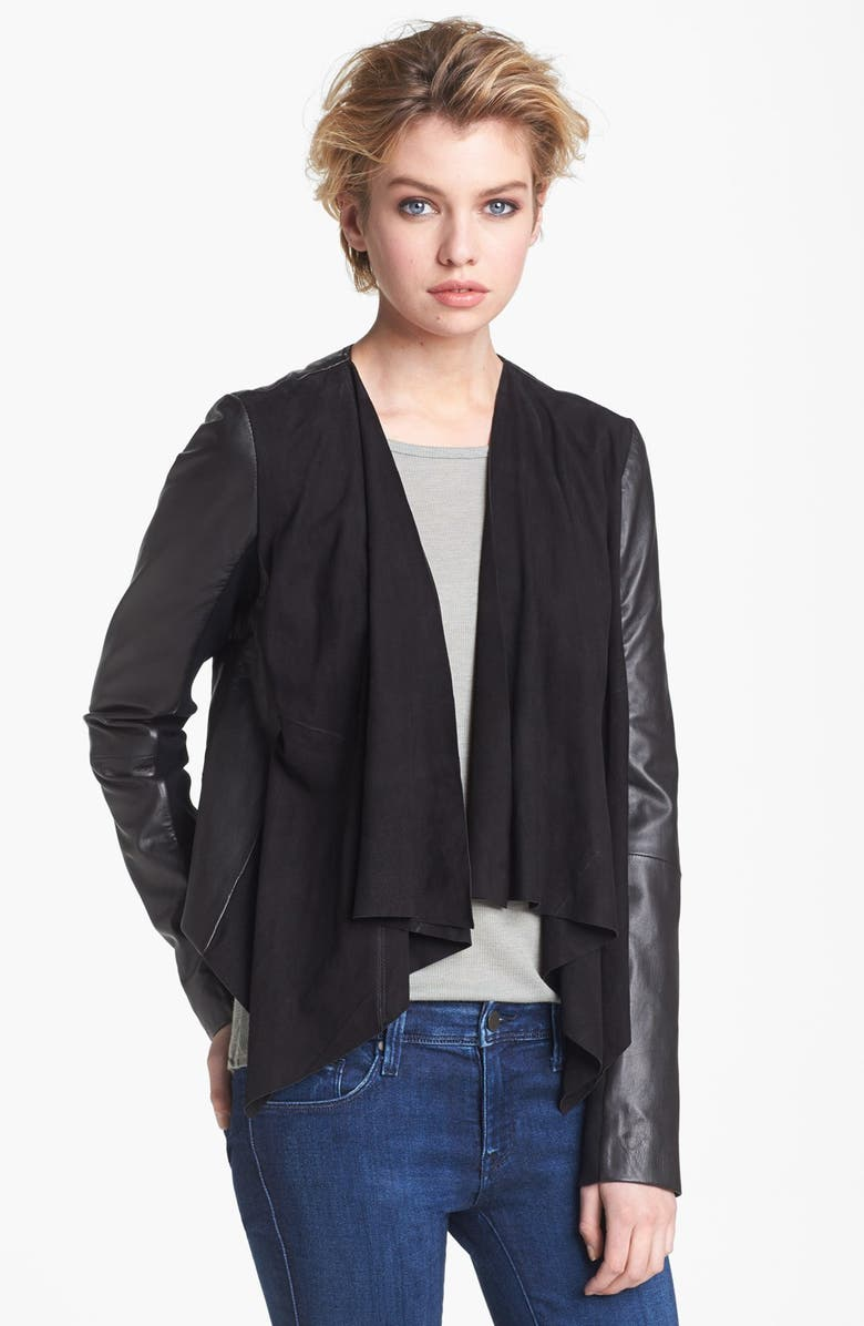 HINGE <sup>®</sup> Draped Suede & Leather Jacket, Main, color, 001