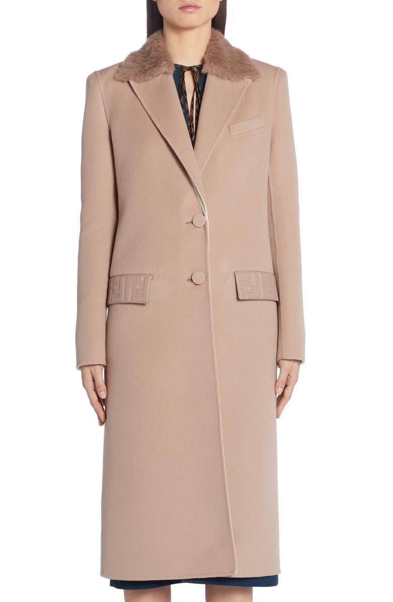 FENDI FF Logo Double Face Cashmere Coat with Removable Genuine Mink Fur Collar, Main, color, BEIGE