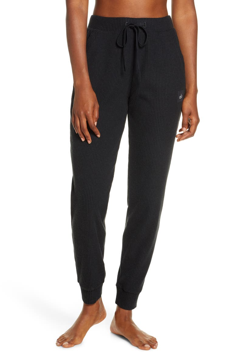 ALO Muse Ribbed High Waist Sweatpants, Main, color, BLACK