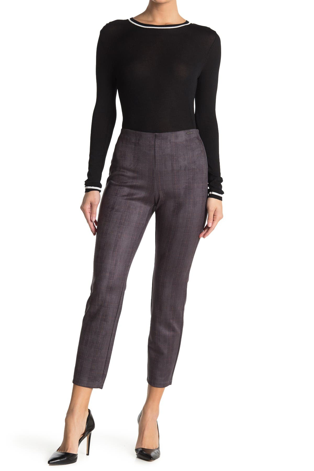 Image of T Tahari Plaid Faux Suede Pull-On Pants