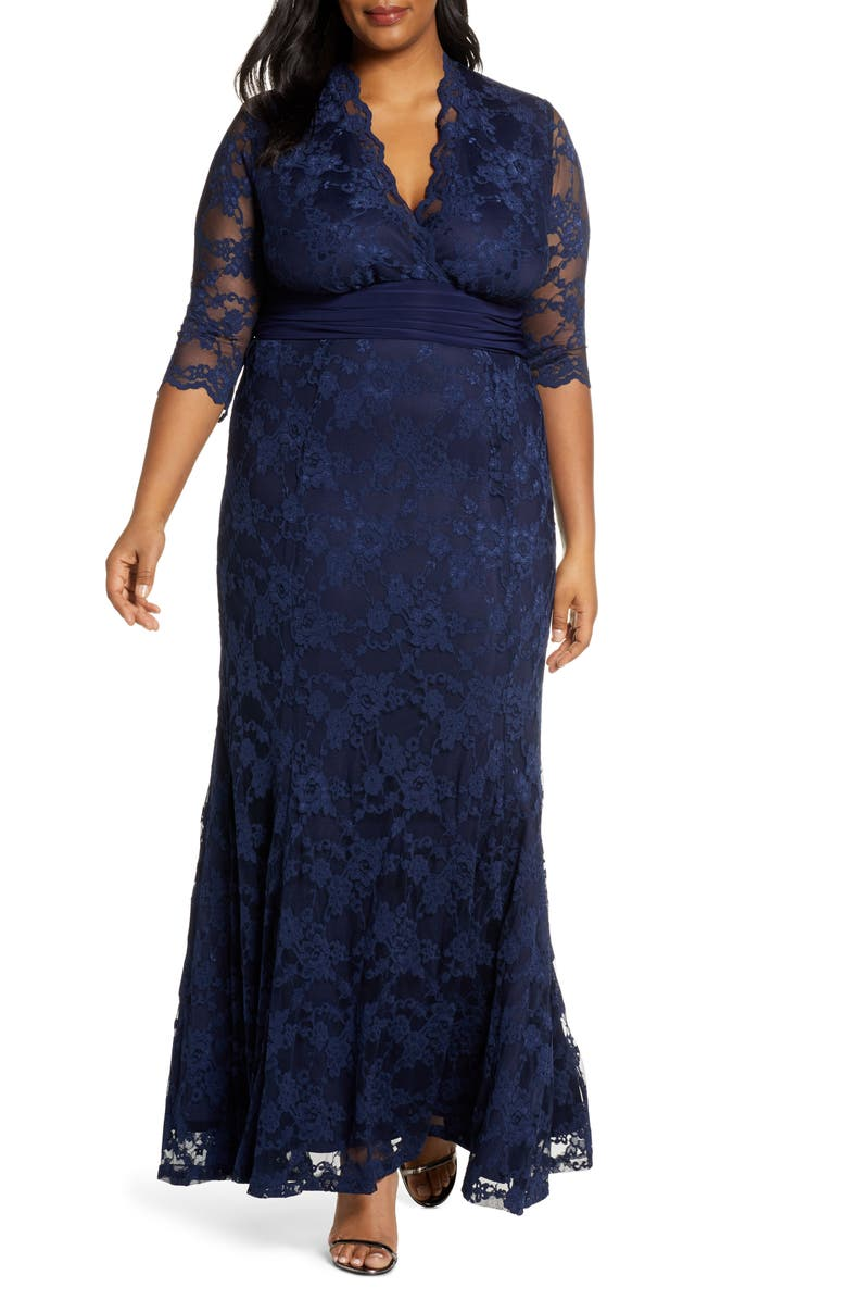 KIYONNA Screen Siren Lace Gown, Main, color, NOCTURNAL NAVY