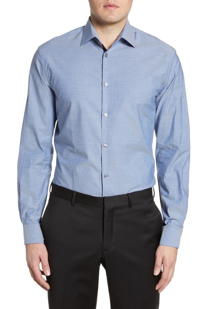 JOHN VARVATOS STAR USA Trim Fit Dress Shirt, Main, color, INK BLUE