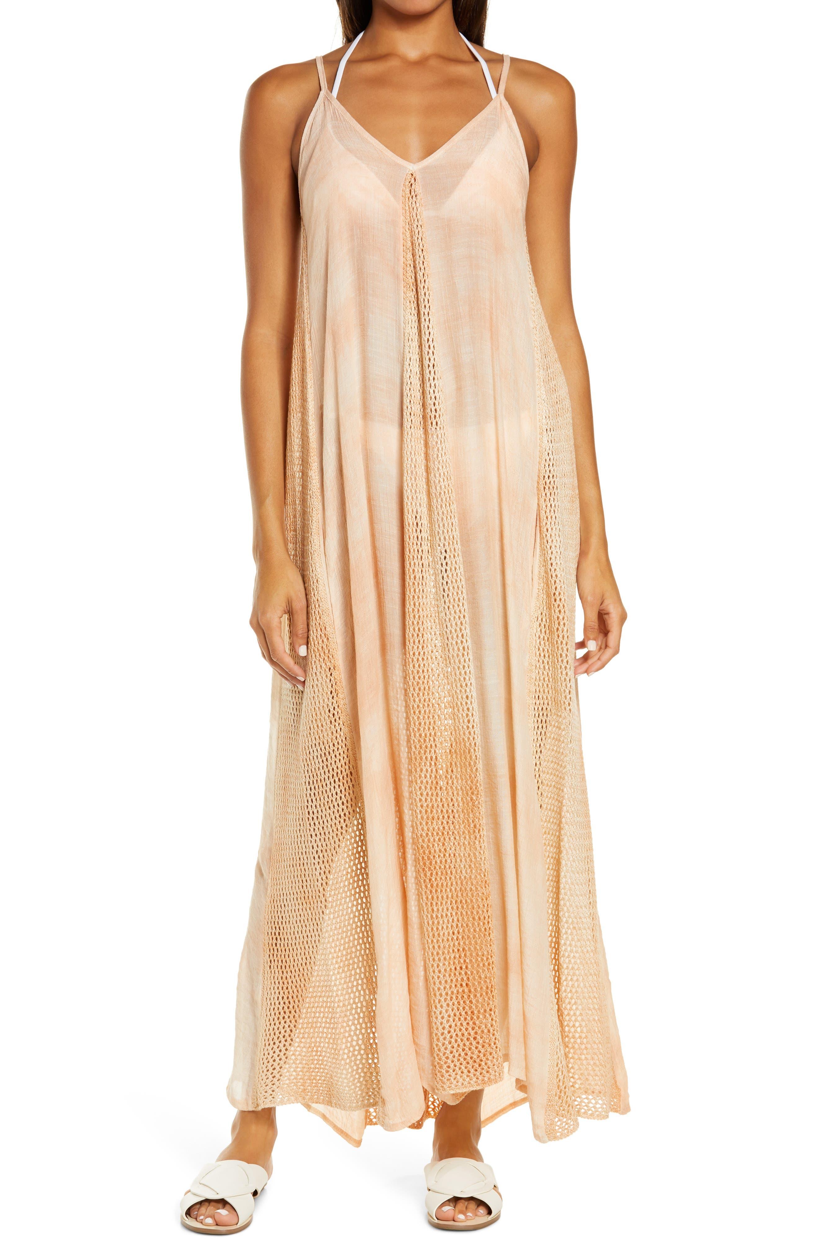 Crochet Godet Cover-Up Maxi Dress