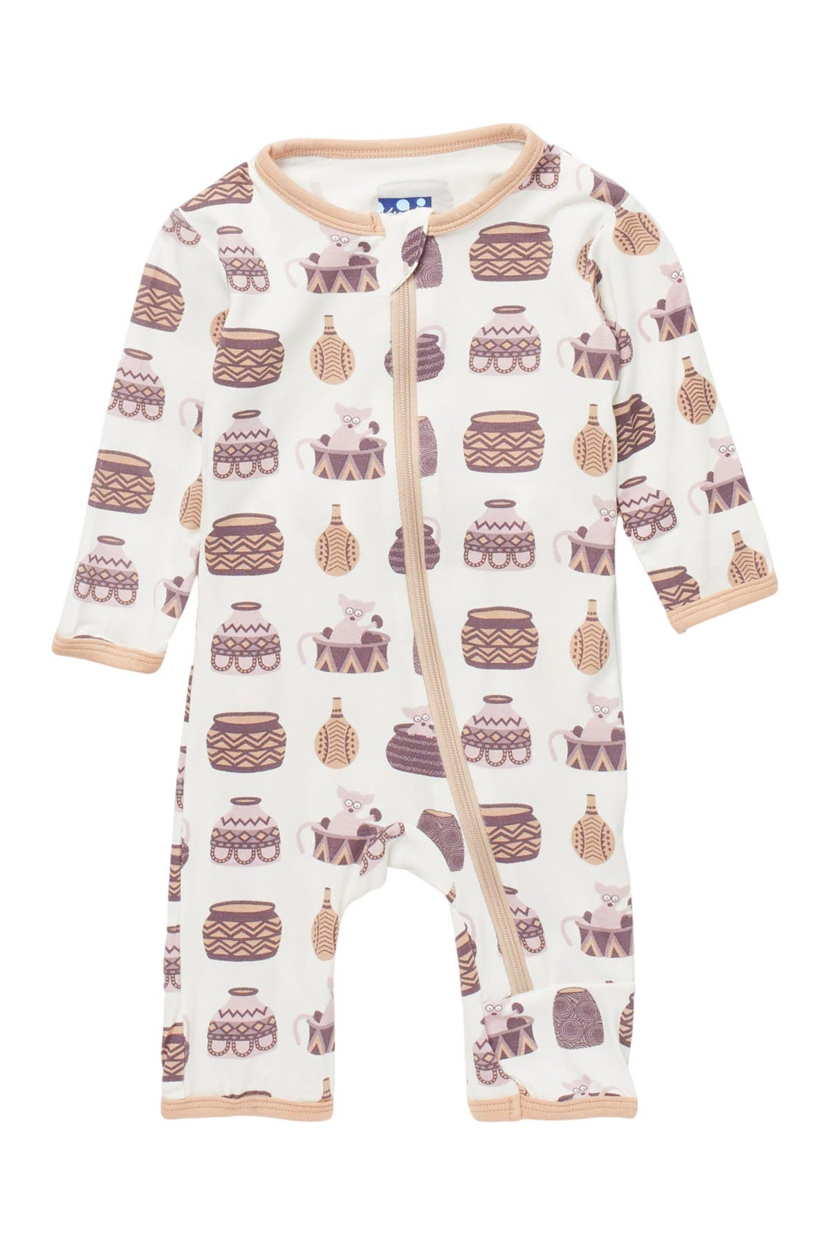 Image of KicKee Pants Patterned Zip Front Coverall