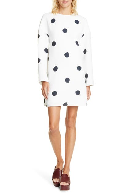 Tibi Dresses FUZZY POLKA DOT LONG SLEEVE SHIFT DRESS