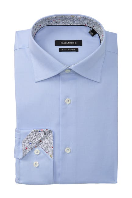 Image of Bugatchi Solid Shaped Fit Dress Shirt