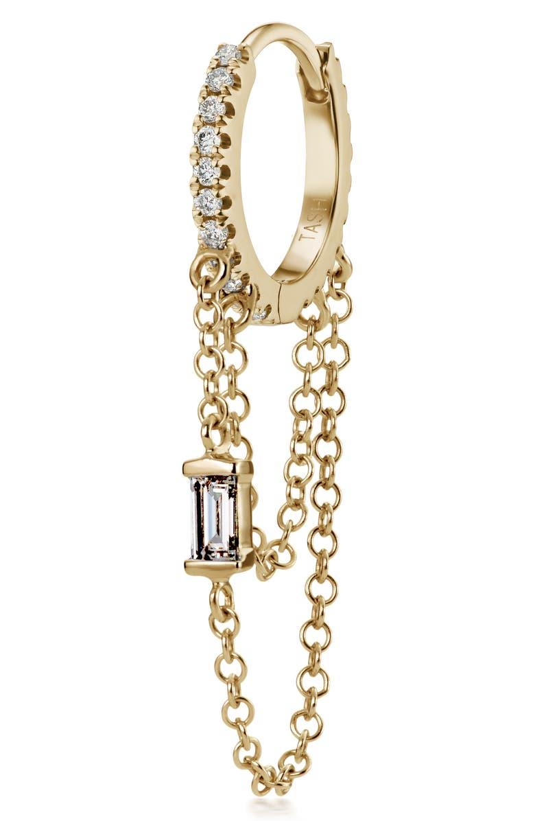 MARIA TASH Baguette Diamond Double Chain Eternity Earring, Main, color, YELLOW GOLD/ DIAMOND