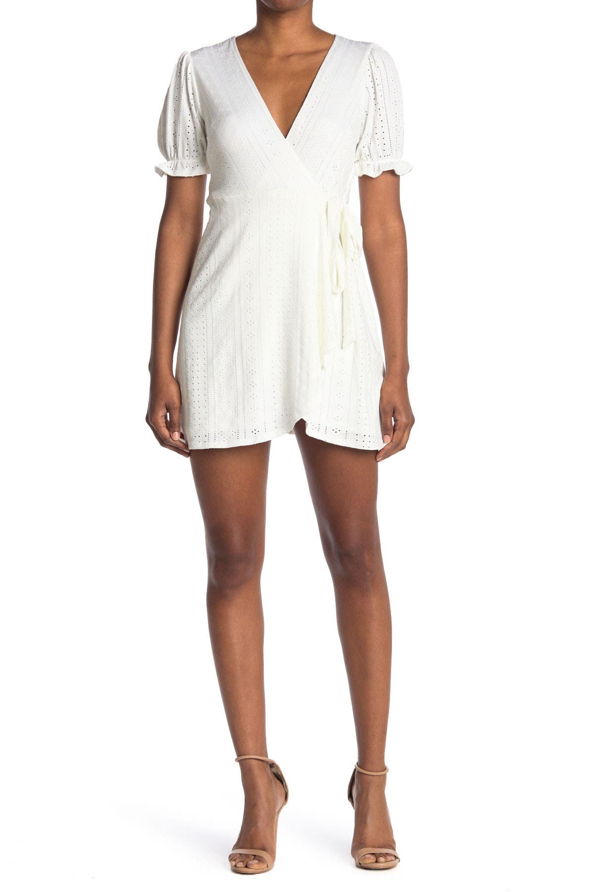 Image of BCBGeneration Puff Sleeve Pointelle Knit Wrap Dress