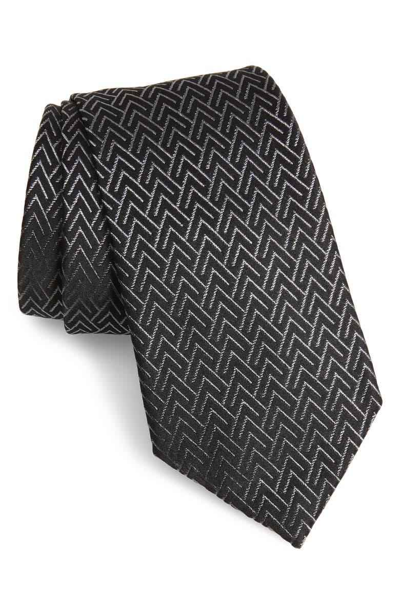 EMPORIO ARMANI Geometric Silk Blend Tie, Main, color, BLACK