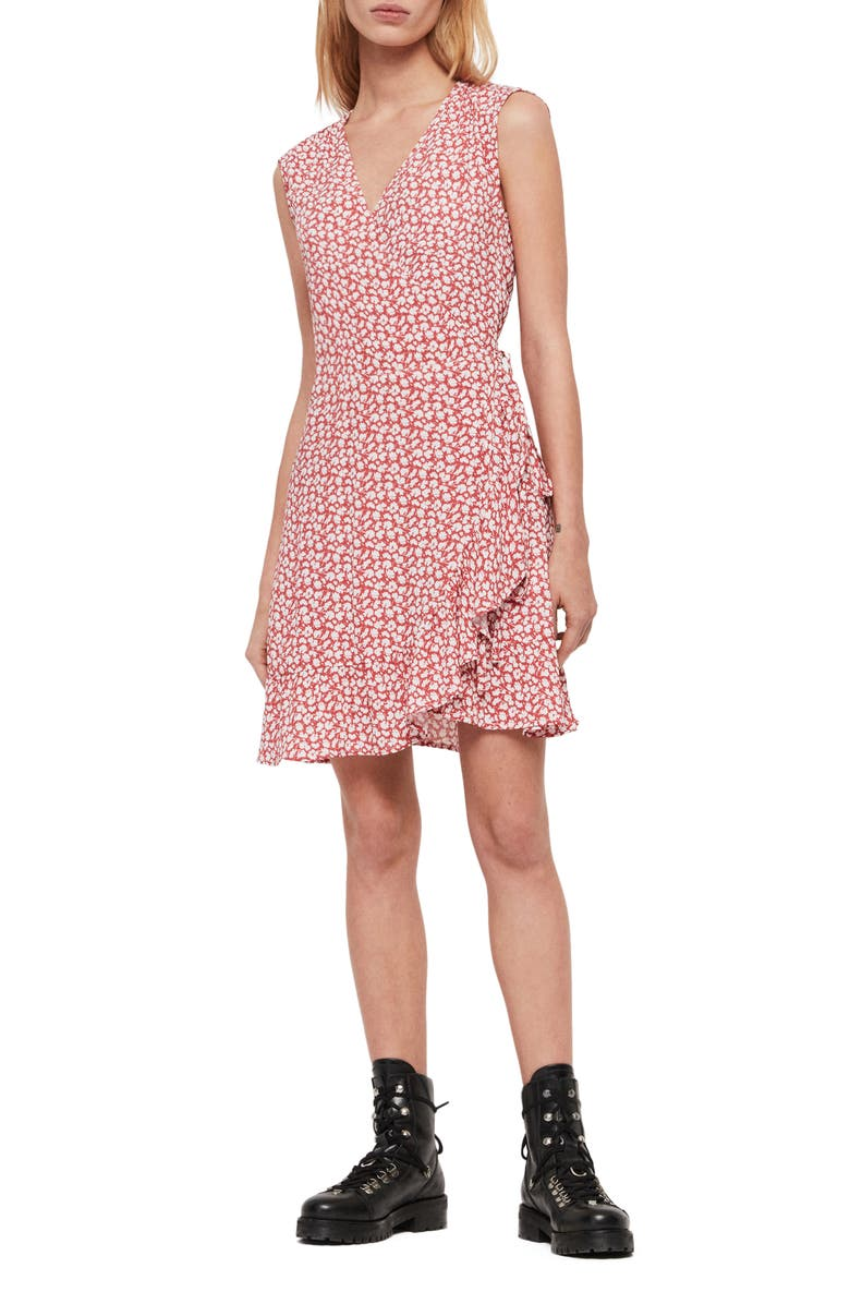 ALLSAINTS Krystal Scatter Floral Wrap Dress, Main, color, RED