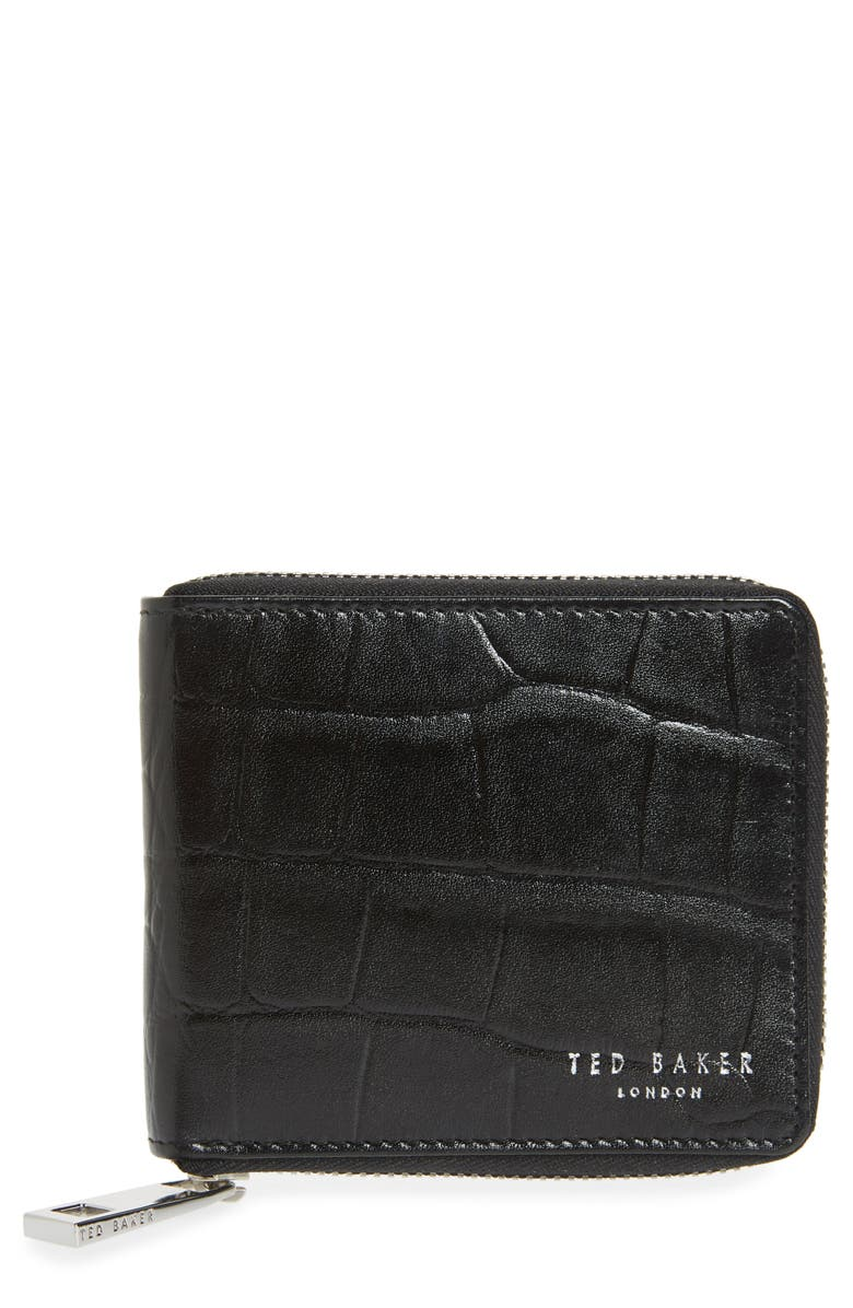 TED BAKER LONDON Shoppa Leather Zip Wallet, Main, color, BLACK