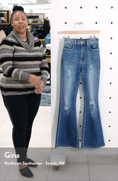 Distressed High Waist Flare Jeans, sales video thumbnail