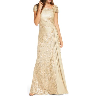 Tadashi Shoji Pintuck Wrapped Embroidered Lace Gown, Metallic