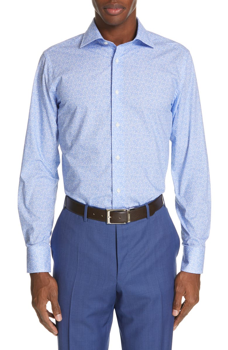 CANALI Slim Fit Paisley Dress Shirt, Main, color, BLUE