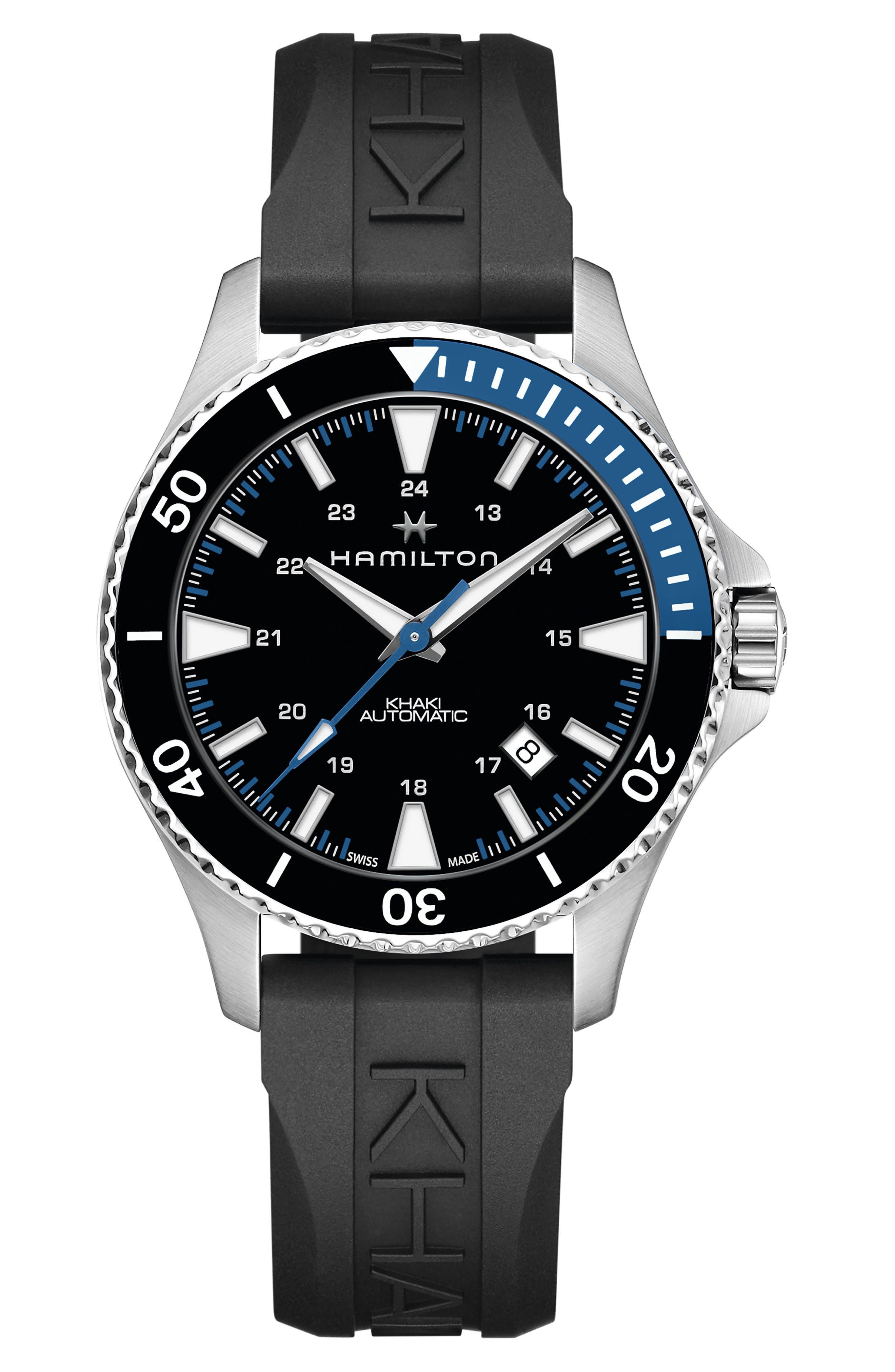 Khaki Navy Automatic Rubber Strap Watch