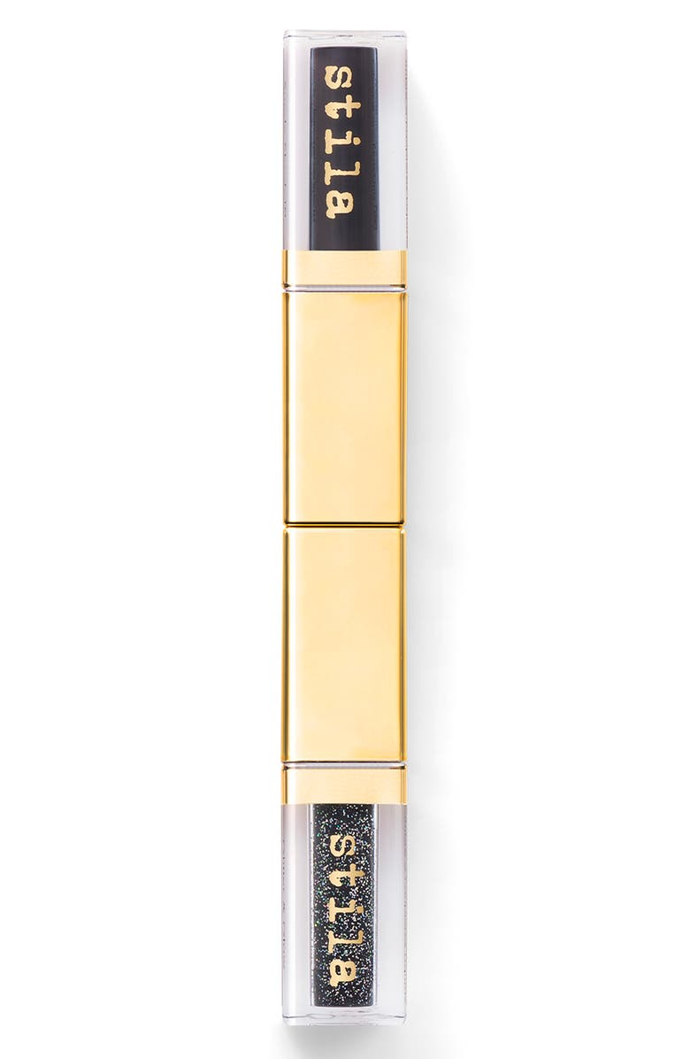 STILA Double Dip Suede Shade and Glitter & Glow Liquid Eyeshadows, Main, color, BLACK OUT