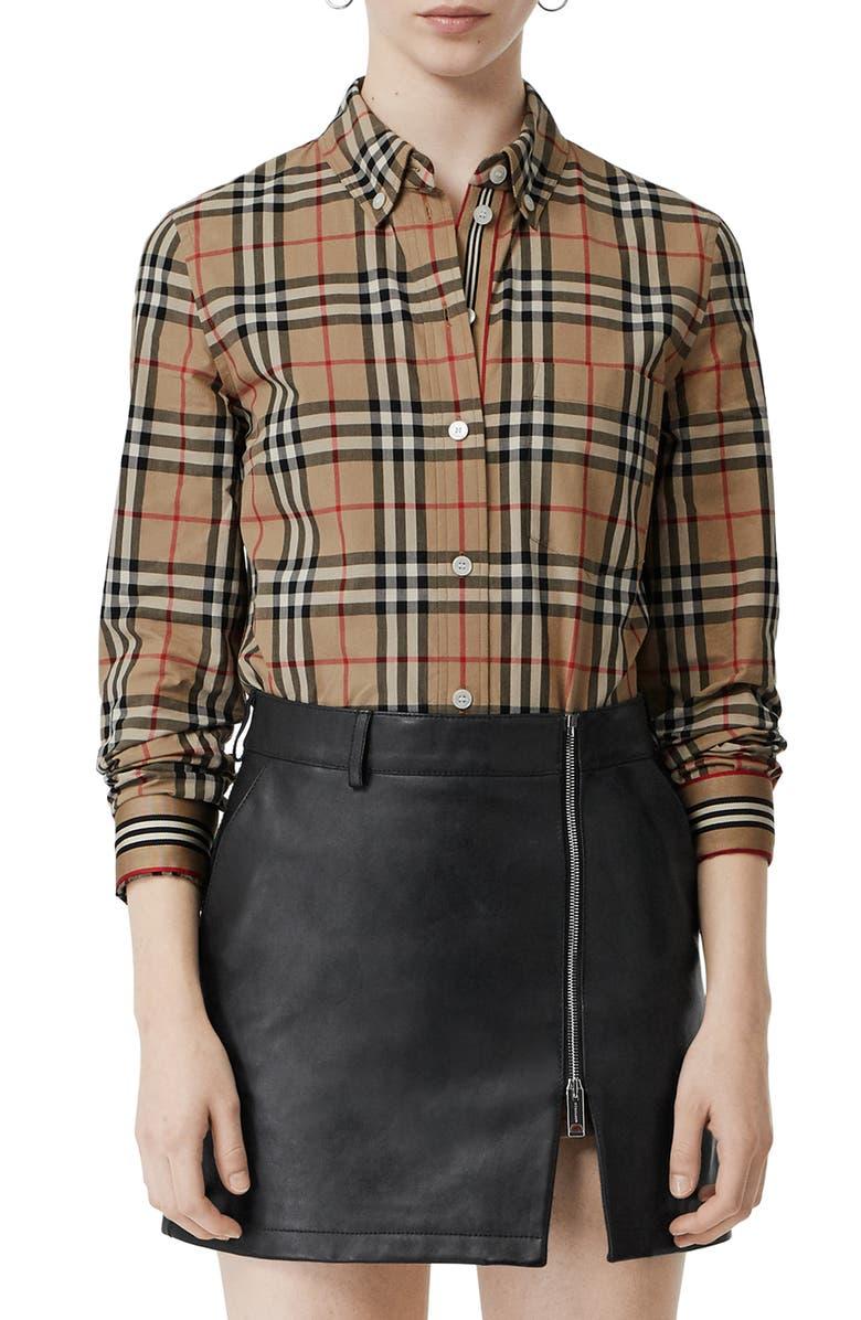 BURBERRY Check Slim Fit Shirt, Main, color, 250