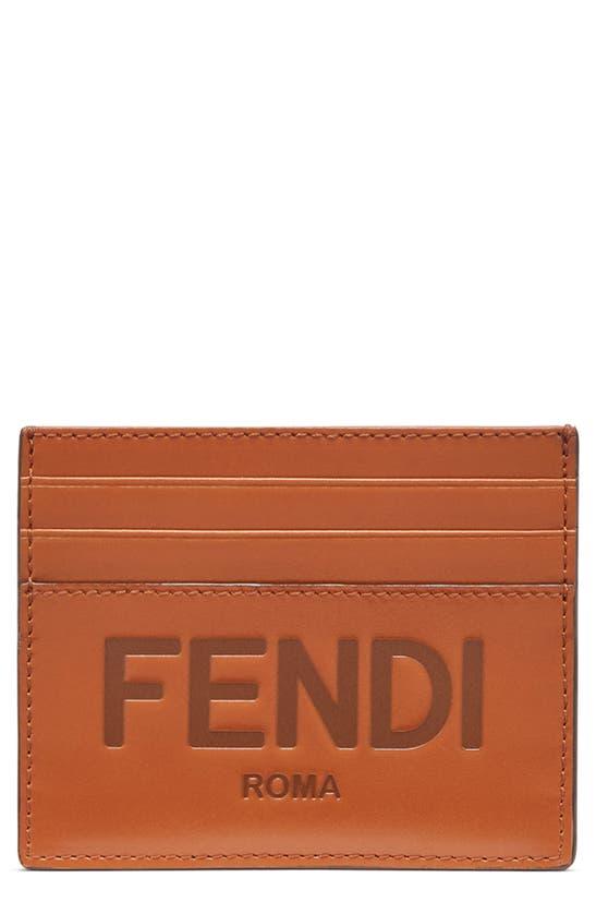 Fendi LOGO EMBOSSED LEATHER CARD CASE