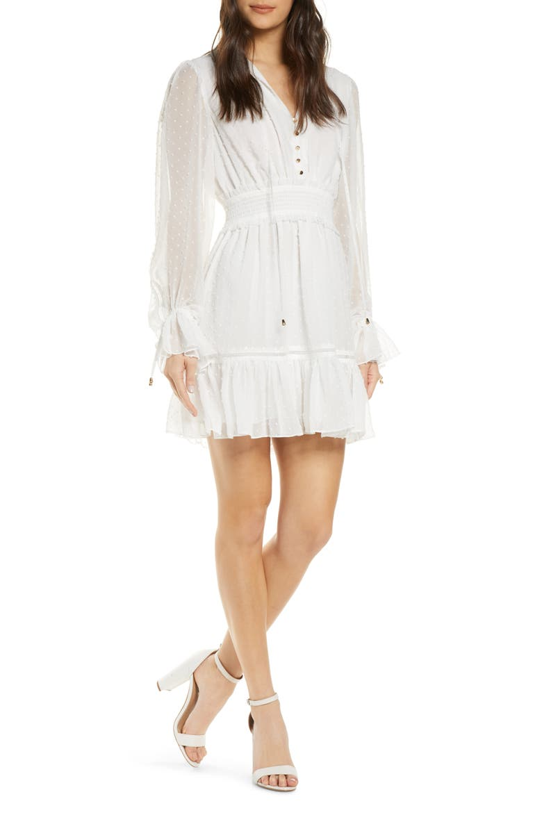 EVER NEW Kacey Long Sleeve Swiss Dot Dress, Main, color, PORCELAIN