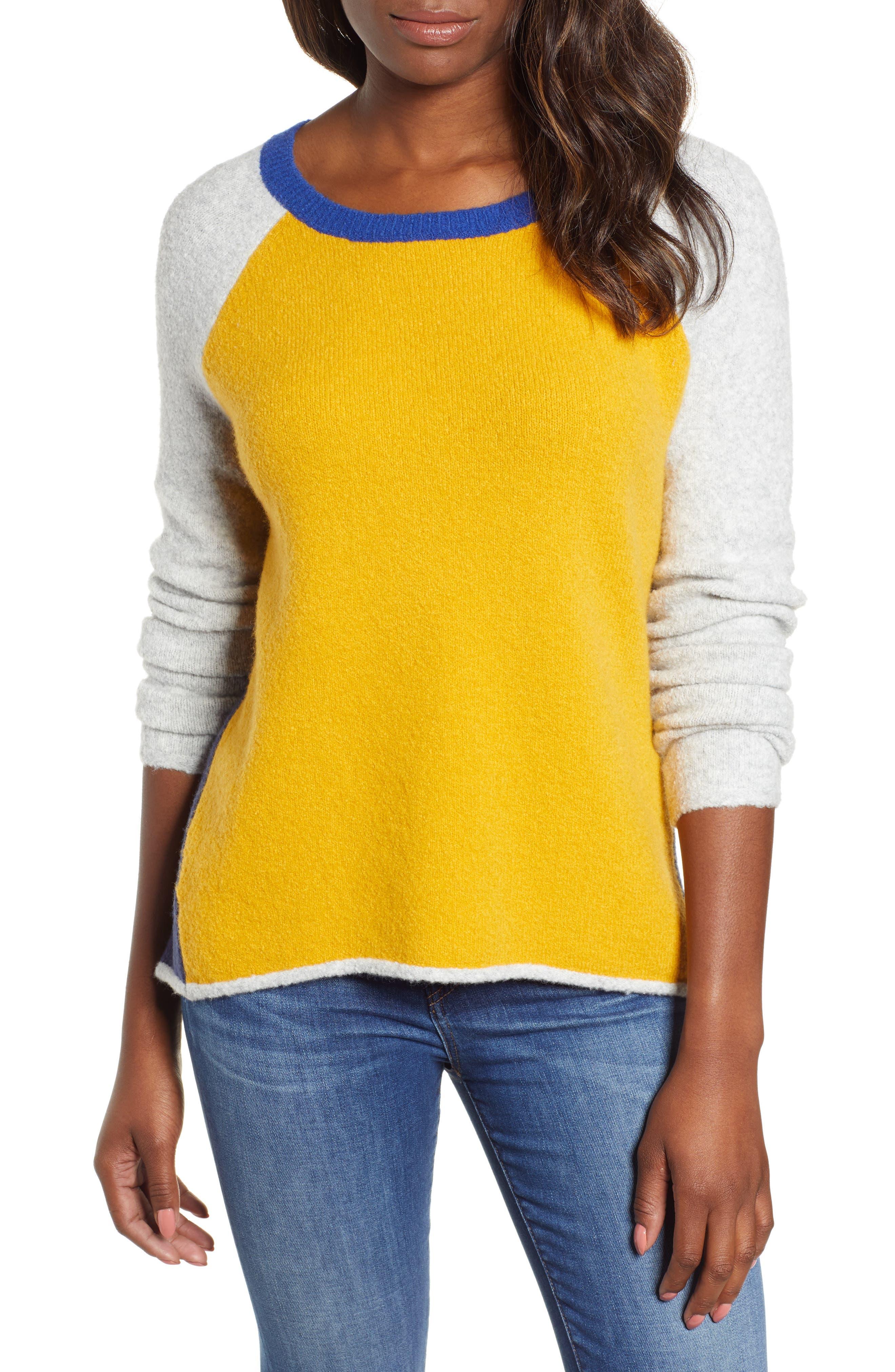 Caslon Colorblock Sweater, Yellow
