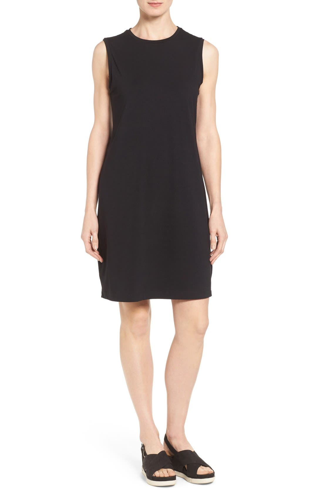 Eileen Fisher Stretch Organic Cotton Knee Length Tank Dress